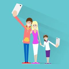 family taking selfie photo on smart phone couple