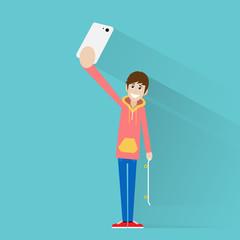 man taking selfie photo on smart phone vector