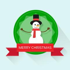 snowman on christmas greeting card with merry christmas