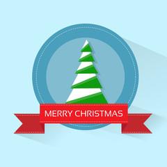 christmas green tree greeting card with merry christmas