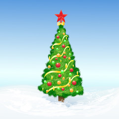 christmas decorated tree snow holiday vector