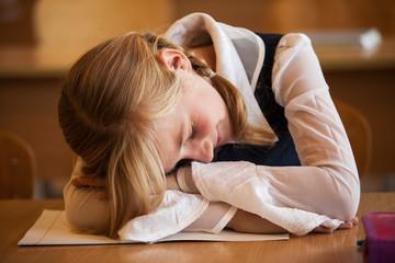 School Girl is sleeping
