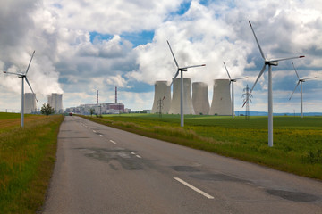 Nuclear power plant Dukovany with wind turbines i