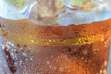cola with ice in cup