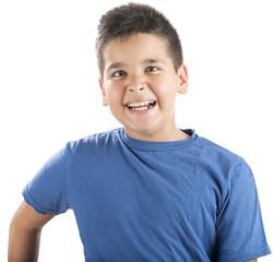 Cross-eyed child laughing isolated on white background.