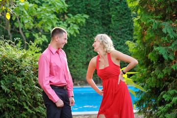 Summer walk in love couple