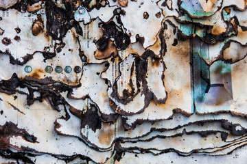 Burnt paper surface with dark charred page edges
