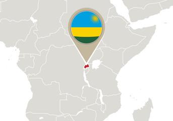 Rwanda on World map
