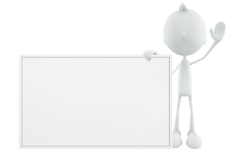 White character with board