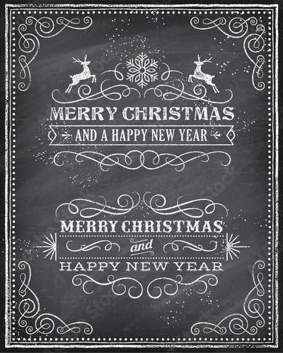 Zdjęcia na płótnie, fototapety, obrazy : Vector Christmas Chalkboard Greeting Card