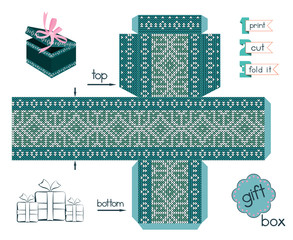 Printable Gift Box With Scandinavian Style Knitted Pattern