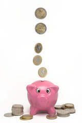 Euros and piggy bank