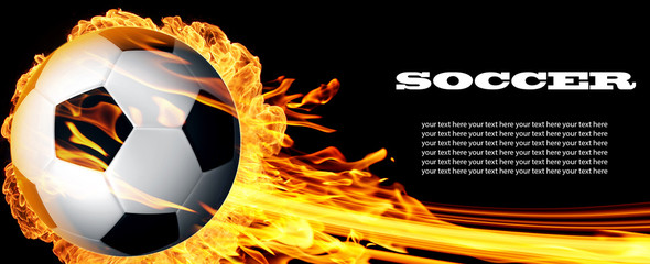 Soccer ball in fire flames