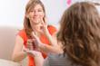 Leinwanddruck Bild - Deaf woman learning sign language