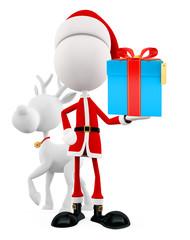 3d Santa for Christmas with gift box