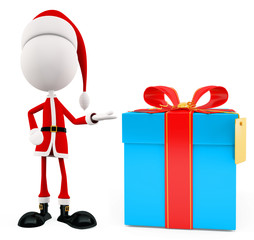 3d Santa for Christmas with gift box