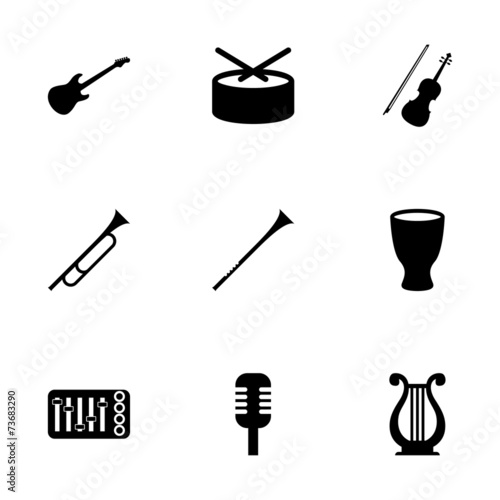 Vector music instruments icon set