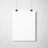 white poster on concrete background - 73683403