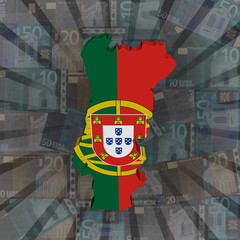 Portugal map flag on euros sunburst illustration