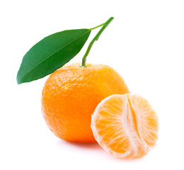 Ripe tangerine with leaf.