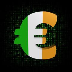 Euro symbol with Irish flag on hex code illustration