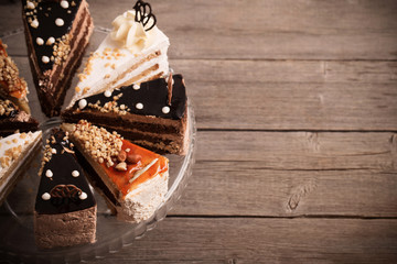 cake on old wooden background