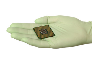 Human hand in glove hold computer chip micro processor isolated