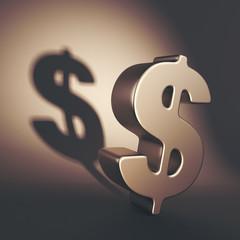 Dark dollar symbol 3D Illustration. Shadow economy system concep