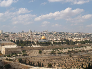 Panorama of Jerusalem, view of the Temple mountain. Israel
