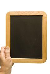 Hand Holding Small Old Blank Blackboard