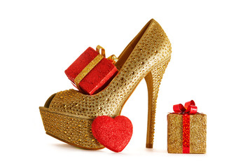 Christmas valentine shopping.Sexy heel with presents