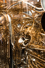 Twisted gold pipes from trombone create a wonderful background