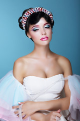 Fashion Model with Dramatic Theatrical Makeup and Diadem