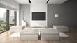 Modern interior in minimalism style 3D rendering