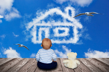 Kleiner Junge und sein Teddy - Haus