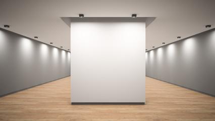 Empty gallery interior 3D rendering