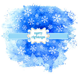 Merry Christmas greeting card with watercolor background.