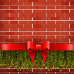 Christmas decorations on a brick wall