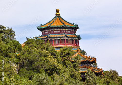 Deurstickers Peking Longevity Hill Pagoda Tower Summer Palace Beijing China
