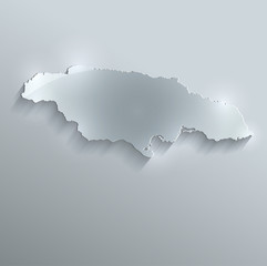 Jamaica map flag glass card paper 3D vector