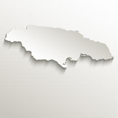 Jamaica map card paper 3D natural vector