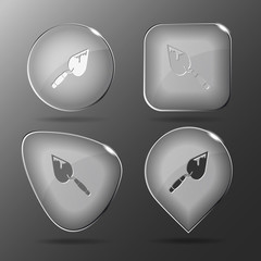 Trowel. Glass buttons. Vector illustration.