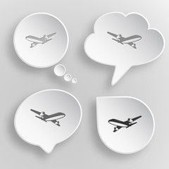 Airliner. White flat vector buttons on gray background.