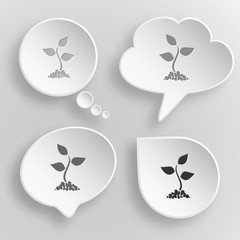 Sprout. White flat vector buttons on gray background.