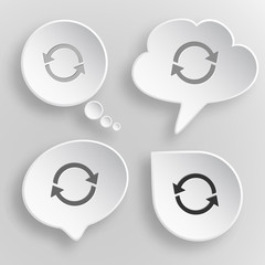 Recycle symbol. White flat vector buttons on gray background.
