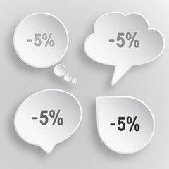 -5%. White flat vector buttons on gray background.