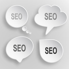 Seo. White flat vector buttons on gray background.