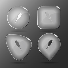 Awl. Glass buttons. Vector illustration.
