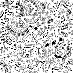 Musical seamless pattern. Doodles background.