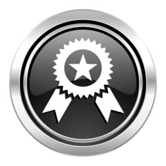 award icon, black chrome button, prize sign